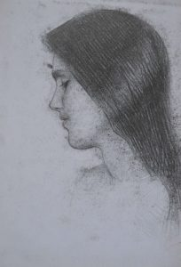 Drawing, portrait of a girl