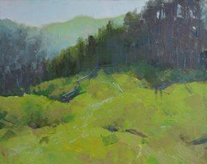 Oil painting, Landscape, Carpathians morning, green