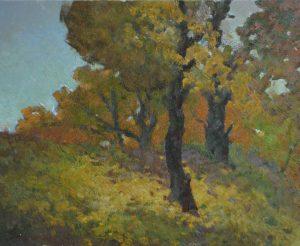 Oil painting, Autumn landscape, Gold trees