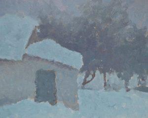Winter evening, oil painting, Arseniy Melnyk artist