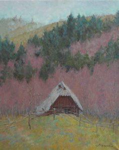 Oil painting, Mountain landscape, Carpathians cottage