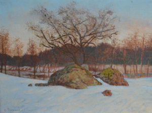 Oil painting, Winter landscape with stones near river