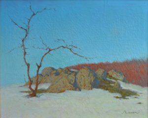 Oil painting, Winter landscape, blue sky